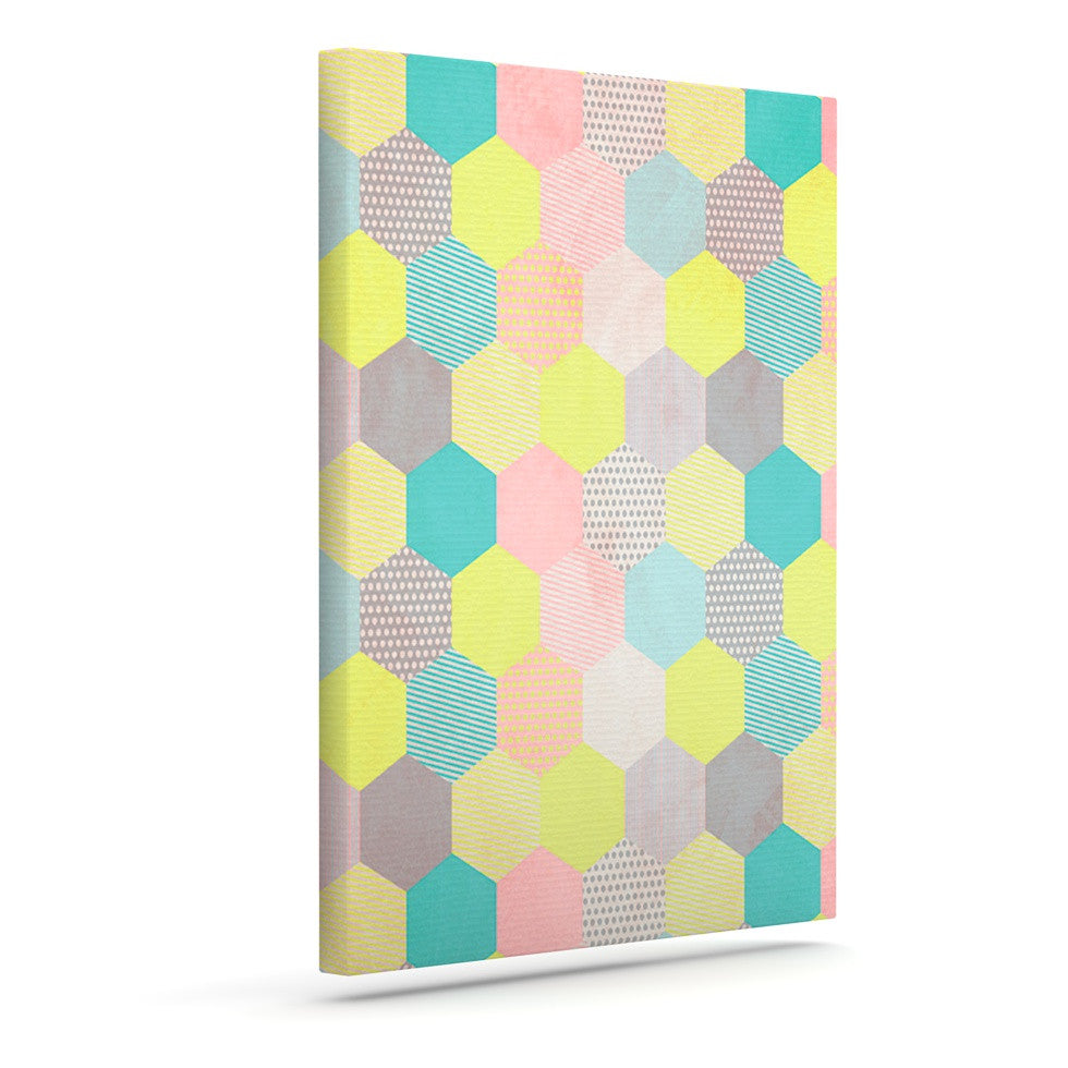 "Louise Machado ""Pastel Hexagon"" Geometric Canvas Art - KESS InHouse  - 1"