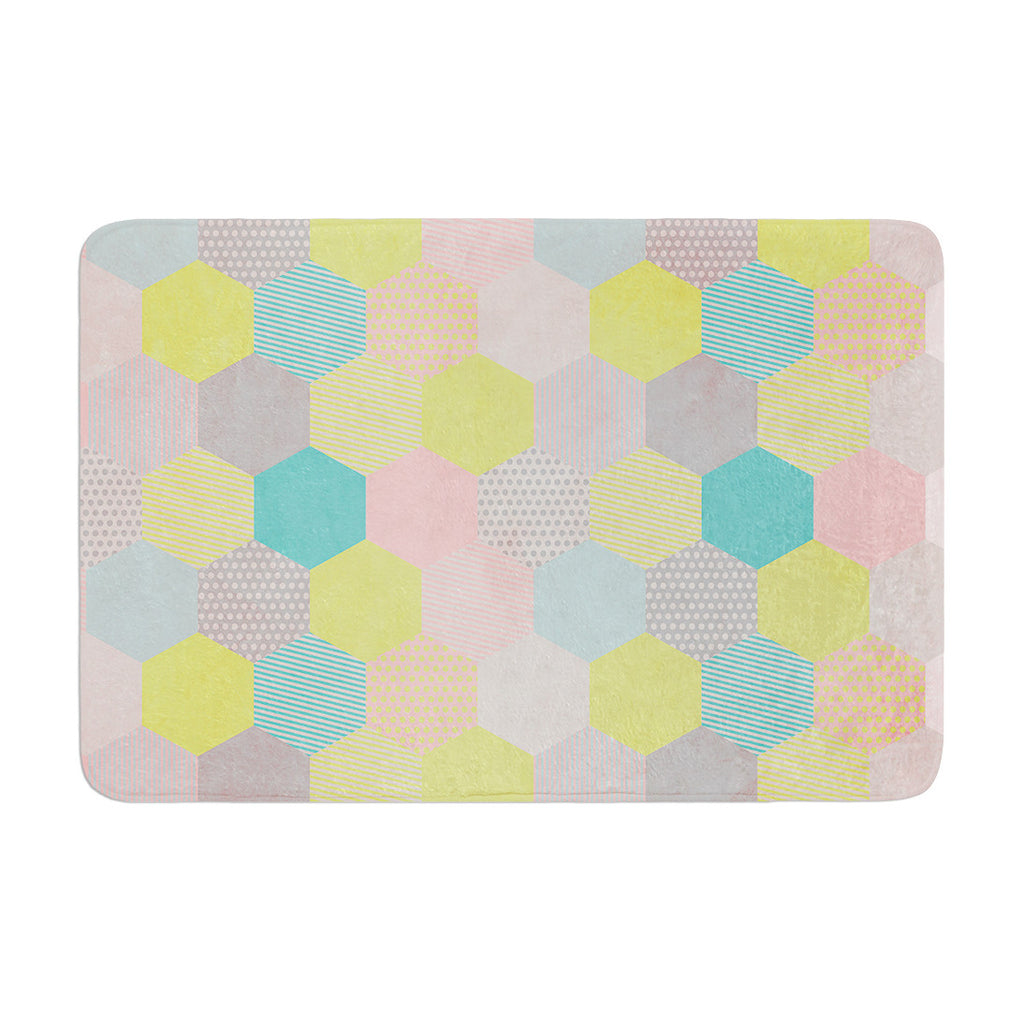 "Louise Machado ""Pastel Hexagon"" Geometric Memory Foam Bath Mat - KESS InHouse"
