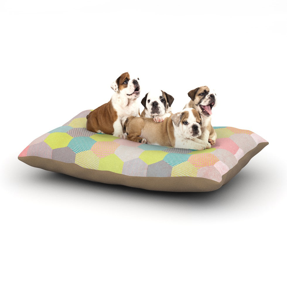 "Louise Machado ""Pastel Hexagon"" Geometric Dog Bed - KESS InHouse"