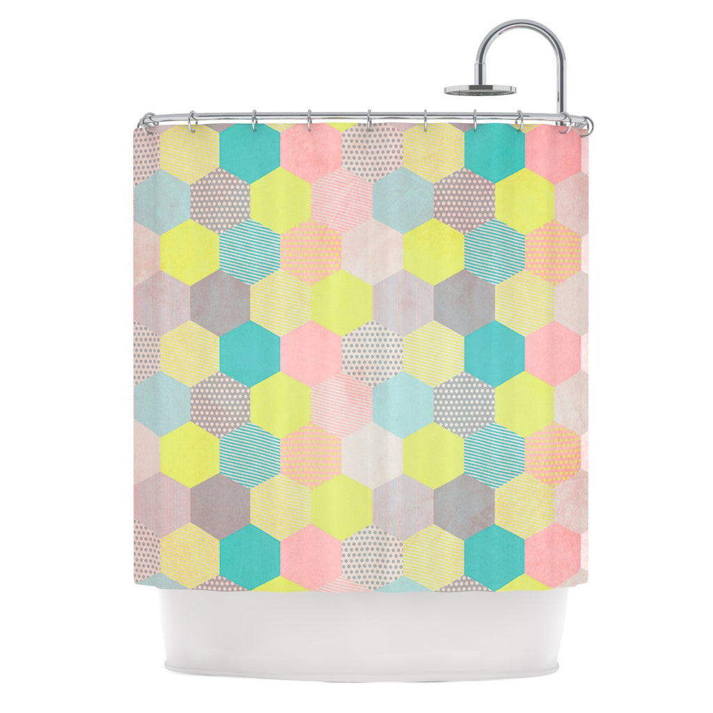 louise machado pastel hexagon geometric shower curtain  kess  - louise machado pastel hexagon geometric shower curtain  kess inhouse
