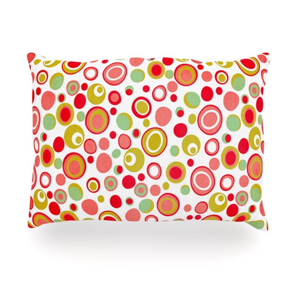 "Louise Machado ""Bubbles"" Warm Circles Oblong Pillow - KESS InHouse"