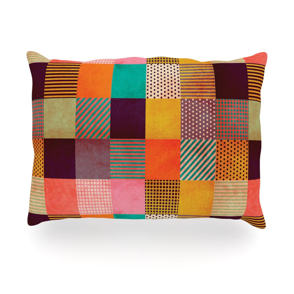 "Louise Machado ""Decorative Pixel"" Warm Patches Oblong Pillow - KESS InHouse"
