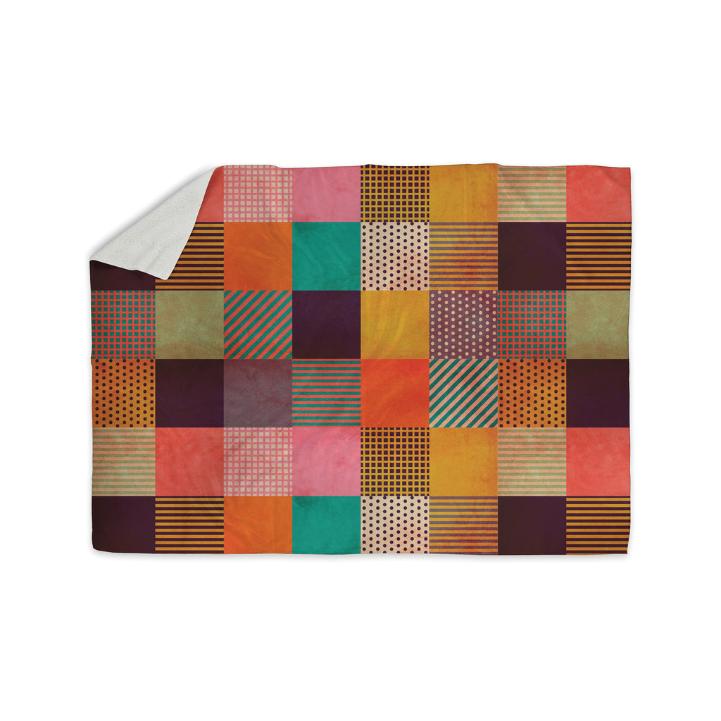 "Louise Machado ""Decorative Pixel"" Warm Patches Sherpa Blanket - KESS InHouse  - 1"