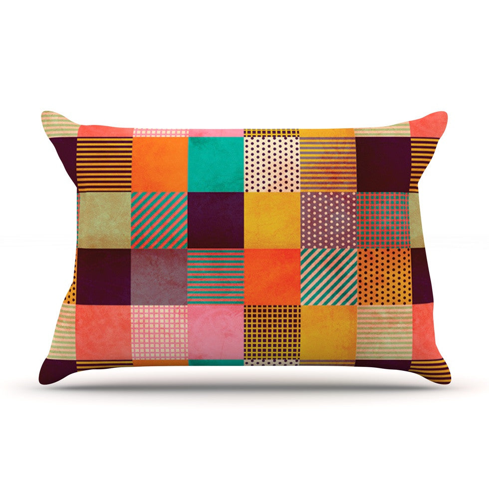"Louise Machado ""Decorative Pixel"" Warm Patches Pillow Sham - KESS InHouse"