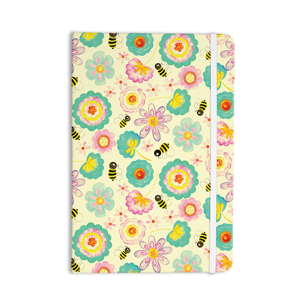 "Louise Machado ""Floral Bee"" Tan Teal Everything Notebook - KESS InHouse  - 1"