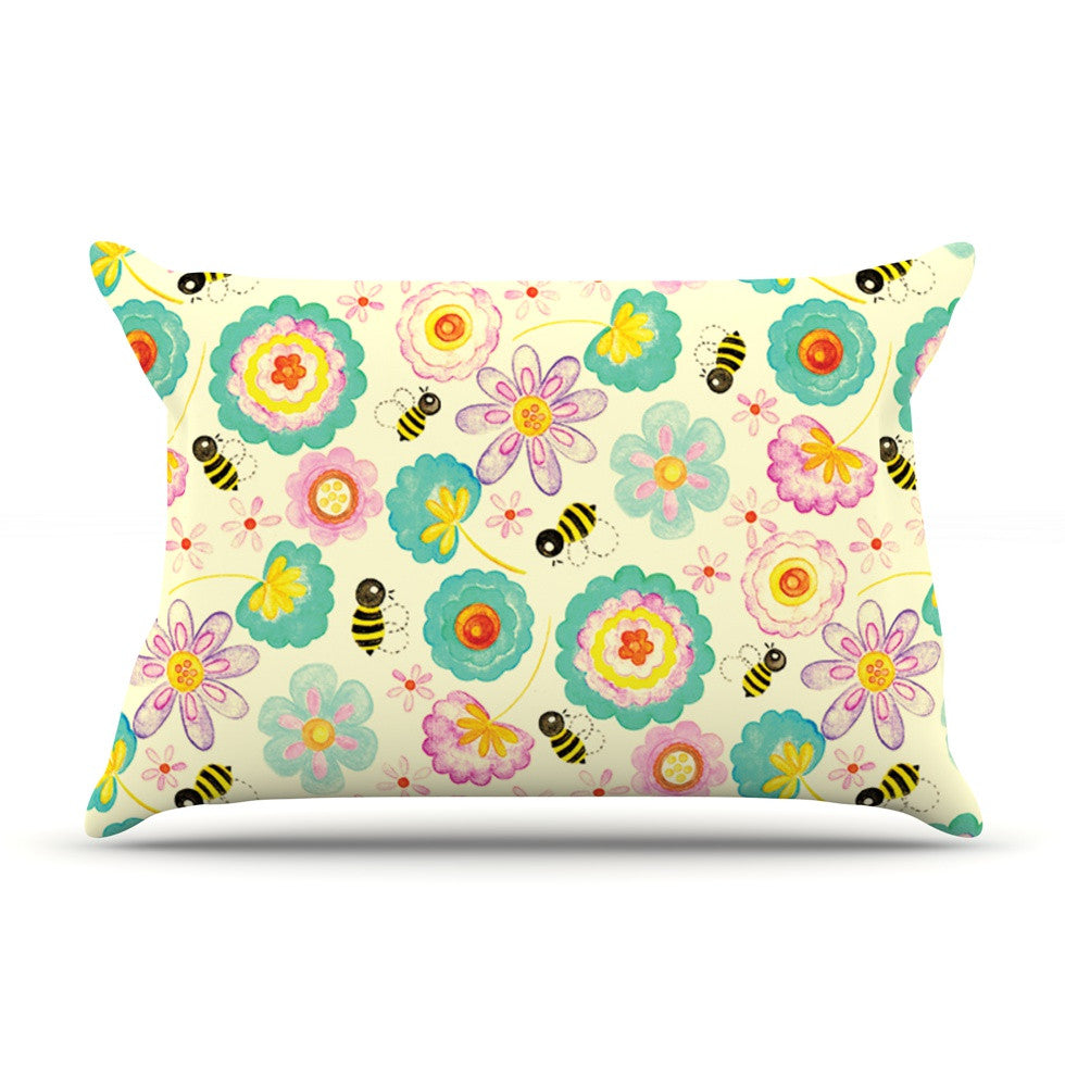 "Louise Machado ""Floral Bee"" Tan Teal Pillow Sham - KESS InHouse"