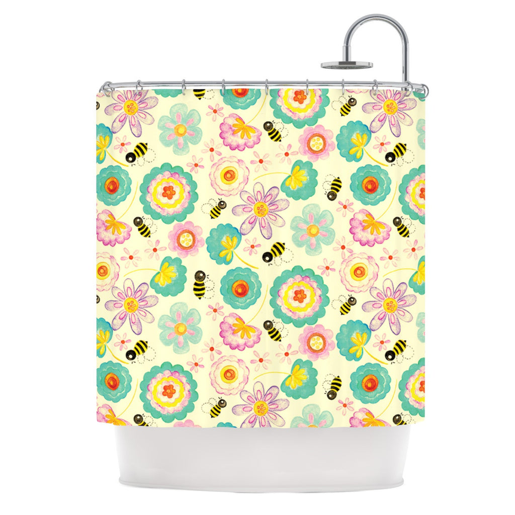 "Louise Machado ""Floral Bee"" Tan Teal Shower Curtain - KESS InHouse"