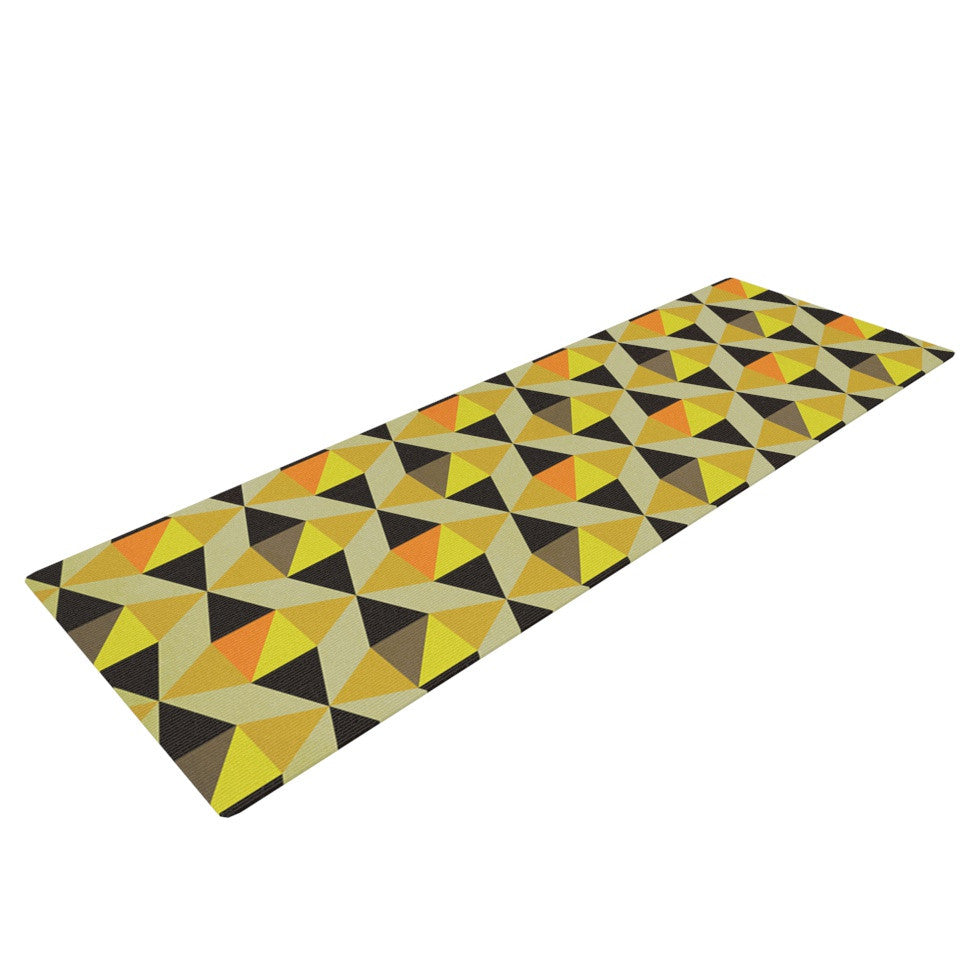 "Louise Machado ""Onyx"" Yellow Black Yoga Mat - KESS InHouse  - 1"