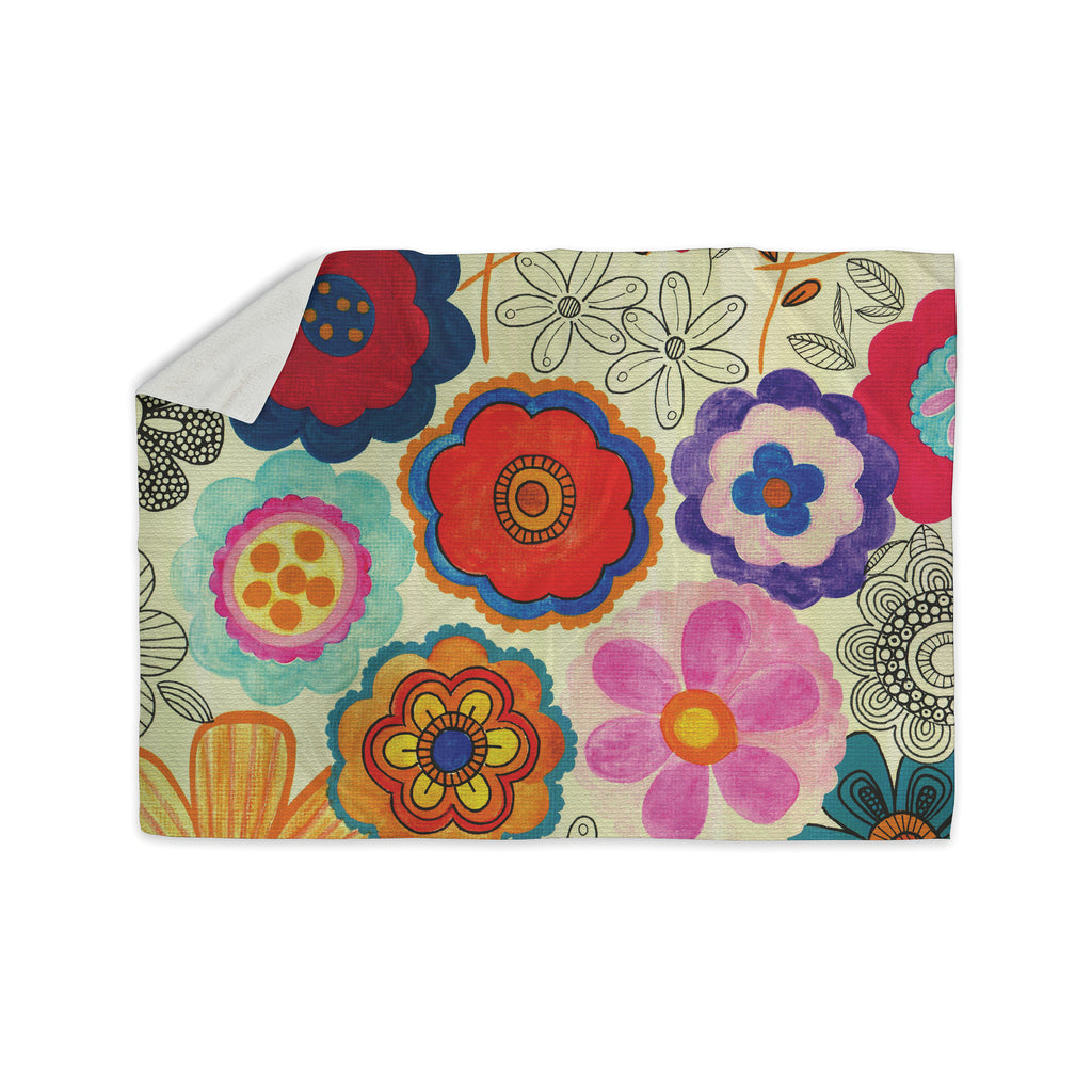 "Louise Machado ""Charming Floral"" Floral Multicolor Sherpa Blanket - KESS InHouse  - 1"