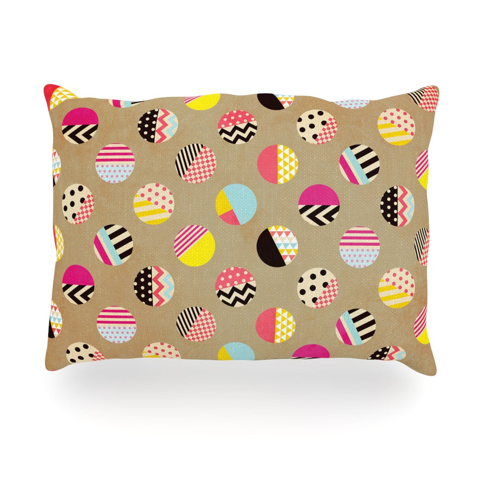 "Louise Machado ""Fun Circle"" Brown Geometric Oblong Pillow - KESS InHouse"