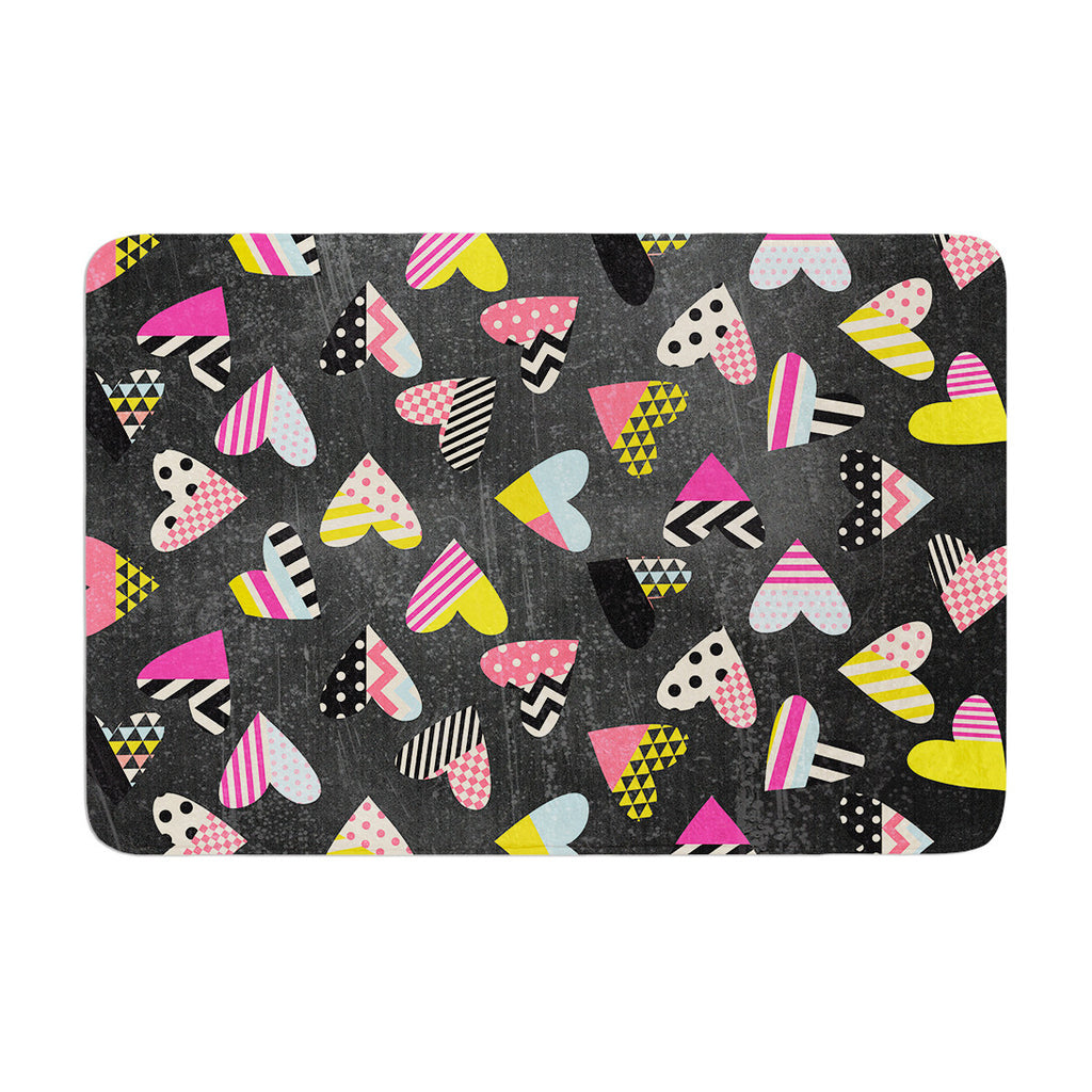"Louise Machado ""Pieces of Heart"" Pink Yellow Memory Foam Bath Mat - KESS InHouse"