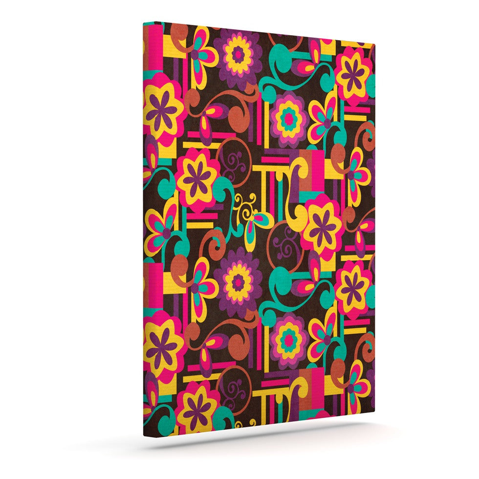 "Louise Machado ""Arabesque Floral"" Bright Colorful Canvas Art - KESS InHouse  - 1"