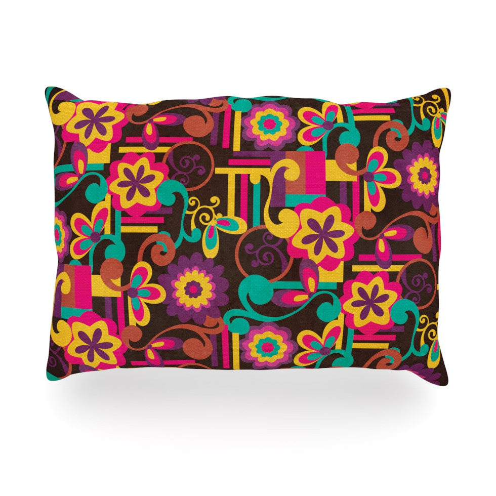 "Louise Machado ""Arabesque Floral"" Bright Colorful Oblong Pillow - KESS InHouse"