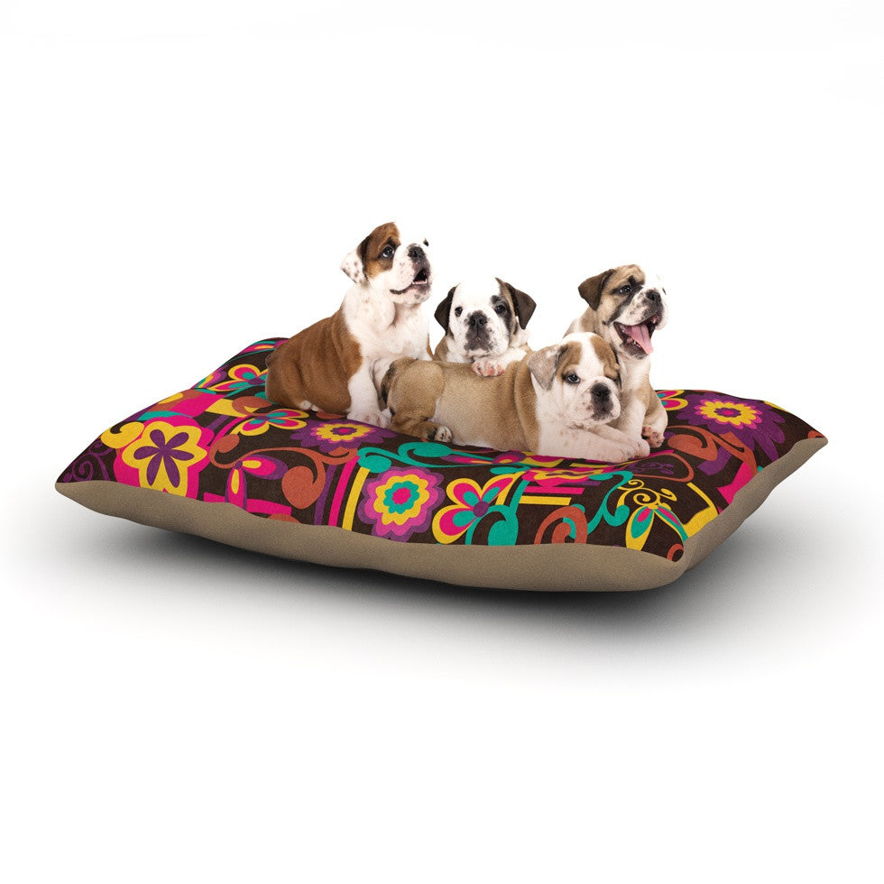 "Louise Machado ""Arabesque Floral"" Bright Colorful Dog Bed - KESS InHouse  - 1"
