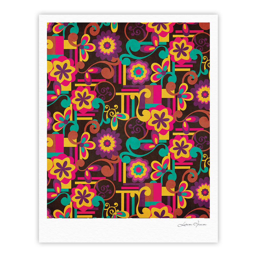 "Louise Machado ""Arabesque Floral"" Bright Colorful Fine Art Gallery Print - KESS InHouse"