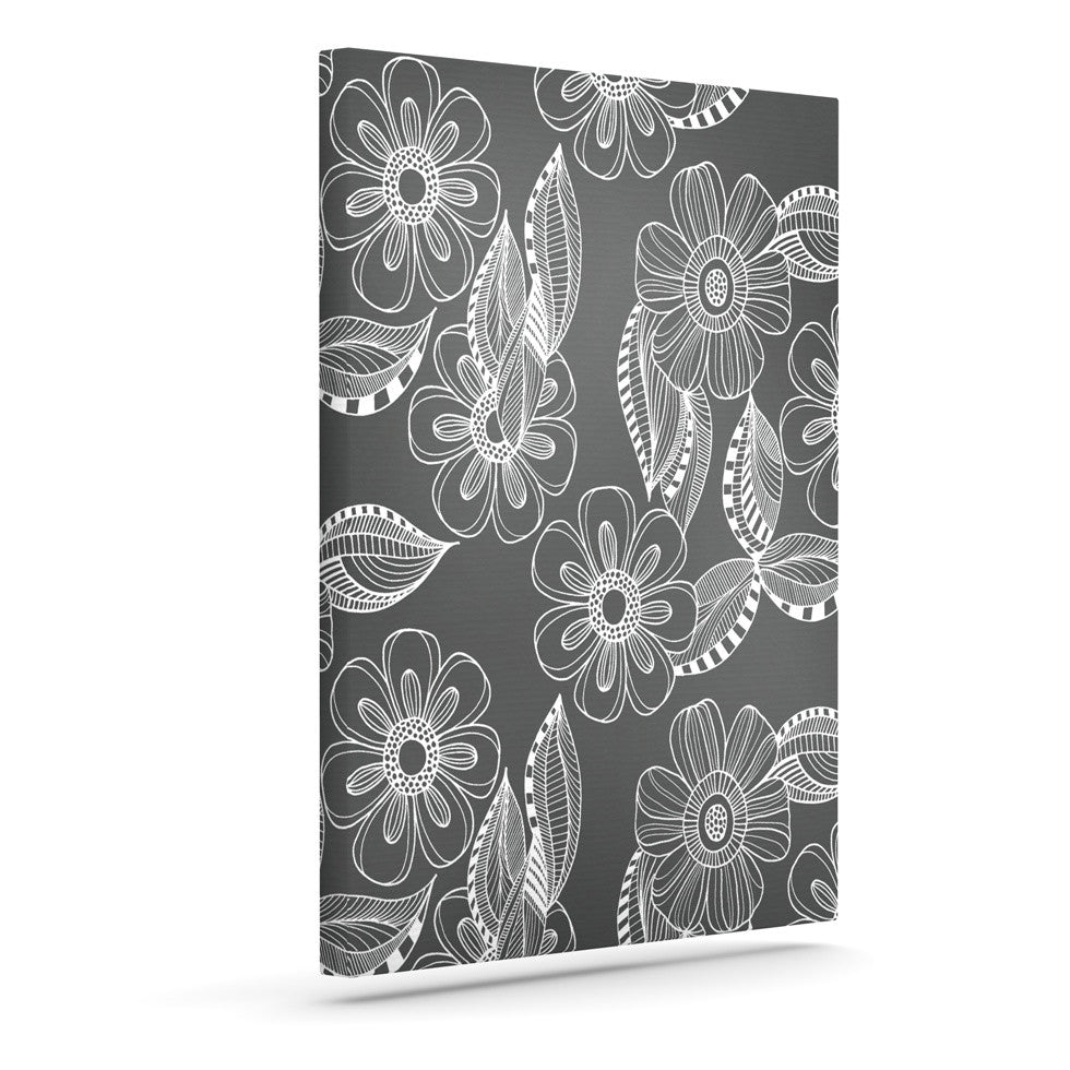 "Louise Machado ""Floral Ink"" Gray White Canvas Art - KESS InHouse  - 1"