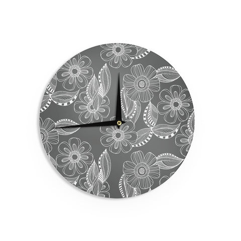 "Louise Machado ""Floral Ink"" Gray White Wall Clock - Outlet Item"