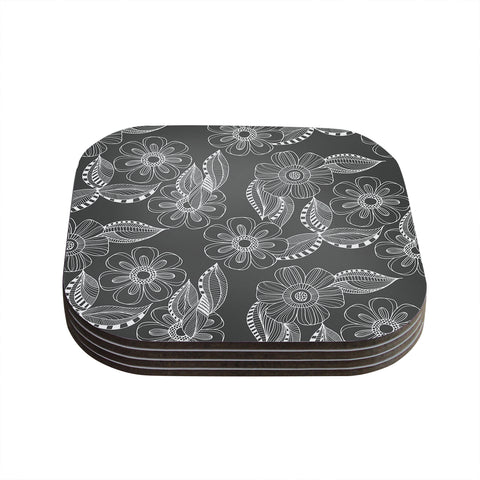 "Louise Machado ""Floral Ink"" Gray White Coasters (Set of 4) - Outlet Item"