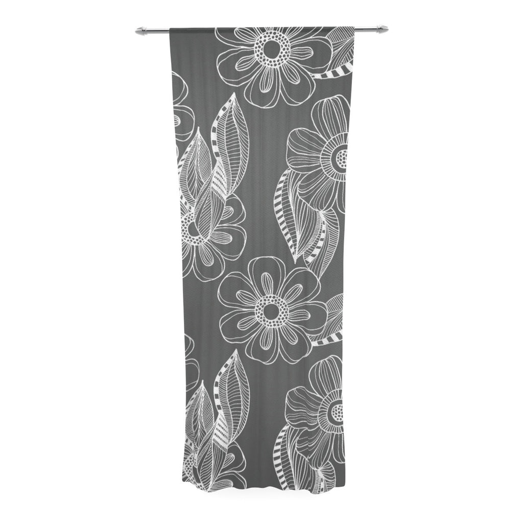 "Louise Machado ""Floral Ink"" Gray White Decorative Sheer Curtain - KESS InHouse  - 1"