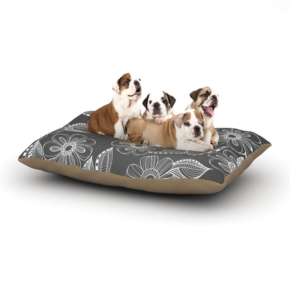 "Louise Machado ""Floral Ink"" Gray White Dog Bed - KESS InHouse  - 1"