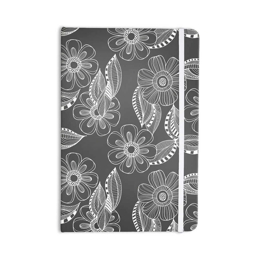 "Louise Machado ""Floral Ink"" Gray White Everything Notebook - KESS InHouse  - 1"