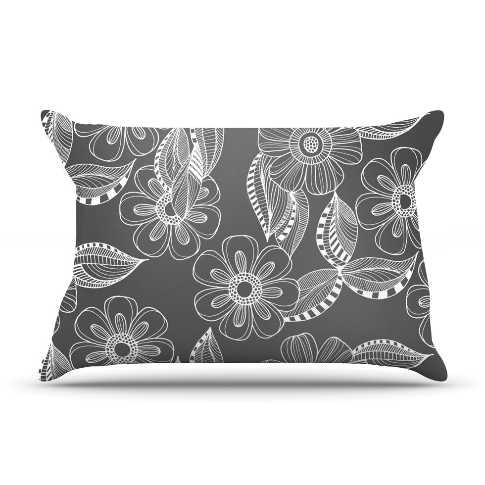 "Louise Machado ""Floral Ink"" Gray White Pillow Sham - KESS InHouse"