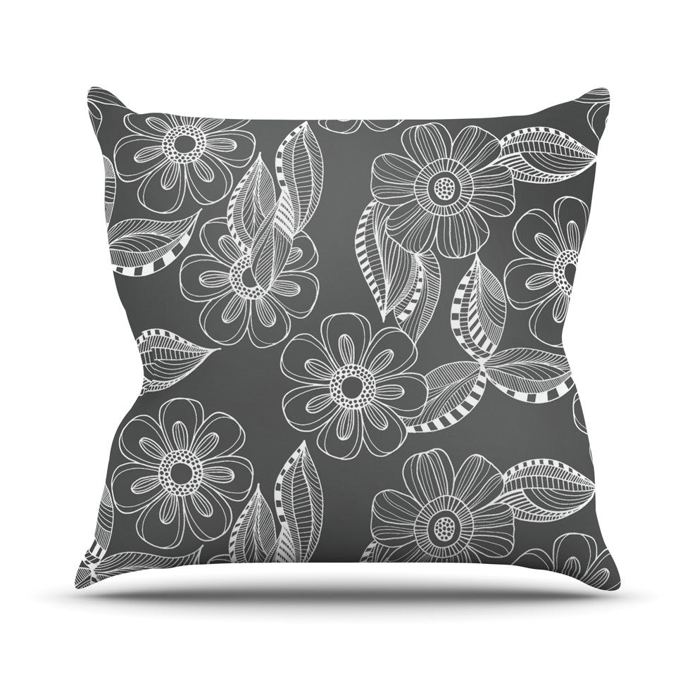 "Louise Machado ""Floral Ink"" Gray White Throw Pillow - KESS InHouse  - 1"