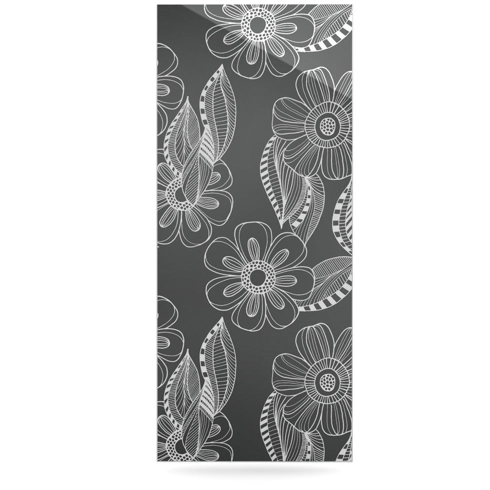 "Louise Machado ""Floral Ink"" Gray White Luxe Rectangle Panel - KESS InHouse  - 1"