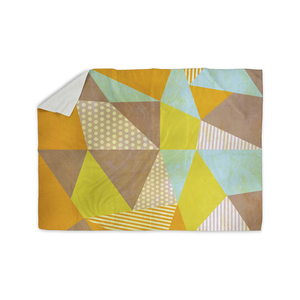 "Louise Machado ""Geometric"" Pastel Yellow Sherpa Blanket - KESS InHouse  - 1"
