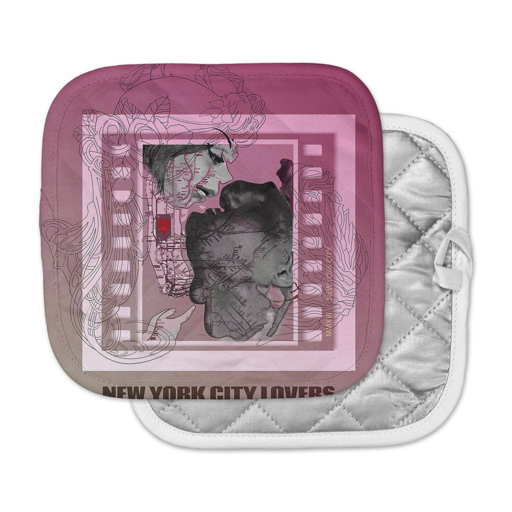 "Lazar Milanovic	 ""New York City Lovers"" Pink Gray Pot Holder"