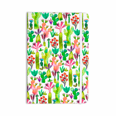 "Ninola Design ""Cute Succulent Cacti Garden"" Green Orange Nature Kids Watercolor Illustration Everything Notebook"