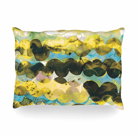 "Ninola Design ""Gold Turquoise Abstract Waves"" Gold Teal Abstract Modern Watercolor Illustration Oblong Pillow"