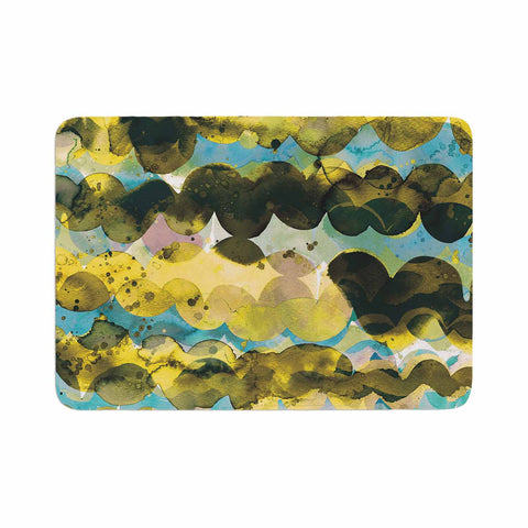 "Ninola Design ""Gold Turquoise Abstract Waves"" Gold Teal Abstract Modern Watercolor Illustration Memory Foam Bath Mat"