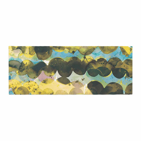 "Ninola Design ""Gold Turquoise Abstract Waves"" Gold Teal Abstract Modern Watercolor Illustration Bed Runner"