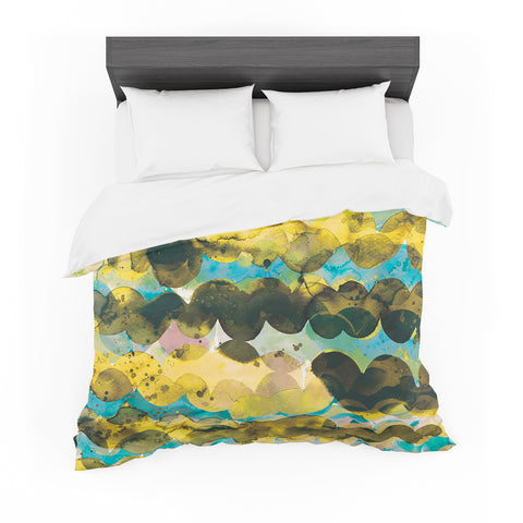 "Ninola Design ""Gold Turquoise Abstract Waves"" Gold Teal Abstract Modern Watercolor Illustration Featherweight Duvet Cover"