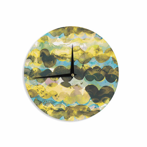 "Ninola Design ""Gold Turquoise Abstract Waves"" Gold Teal Abstract Modern Watercolor Illustration Wall Clock"