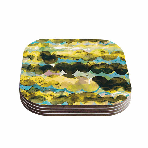 "Ninola Design ""Gold Turquoise Abstract Waves"" Gold Teal Abstract Modern Watercolor Illustration Coasters (Set of 4)"