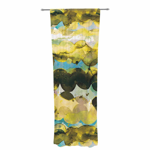 "Ninola Design ""Gold Turquoise Abstract Waves"" Gold Teal Abstract Modern Watercolor Illustration Decorative Sheer Curtain"