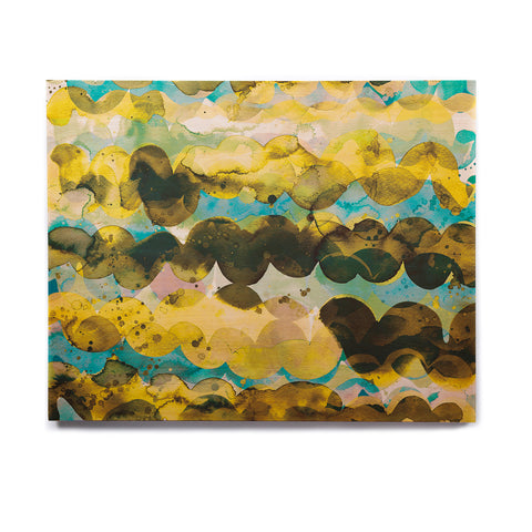 "Ninola Design ""Gold Turquoise Abstract Waves"" Gold Teal Abstract Modern Watercolor Illustration Birchwood Wall Art"