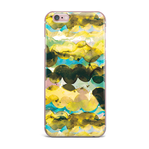 "Ninola Design ""Gold Turquoise Abstract Waves"" Gold Teal Abstract Modern Watercolor Illustration iPhone Case"