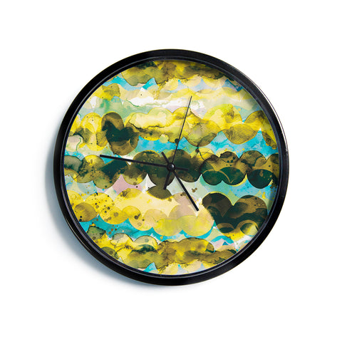 "Ninola Design ""Gold Turquoise Abstract Waves"" Gold Teal Abstract Modern Watercolor Illustration Modern Wall Clock"