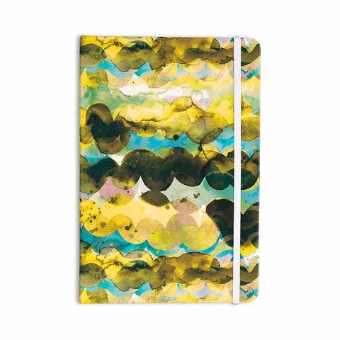 "Ninola Design ""Gold Turquoise Abstract Waves"" Gold Teal Abstract Modern Watercolor Illustration Everything Notebook"