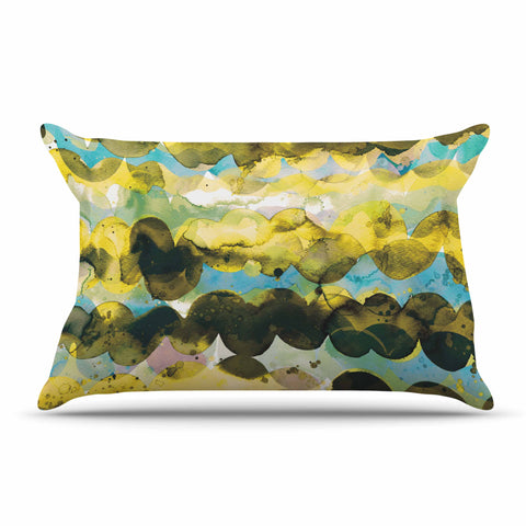 "Ninola Design ""Gold Turquoise Abstract Waves"" Gold Teal Abstract Modern Watercolor Illustration Pillow Sham"