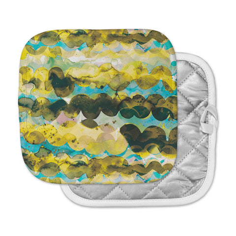 "Ninola Design ""Gold Turquoise Abstract Waves"" Gold Teal Abstract Modern Watercolor Illustration Pot Holder"