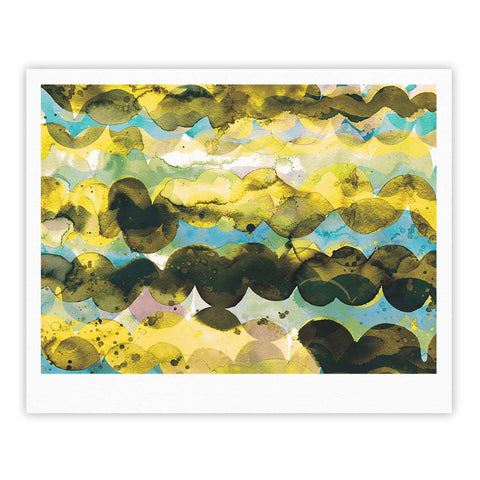 "Ninola Design ""Gold Turquoise Abstract Waves"" Gold Teal Abstract Modern Watercolor Illustration Fine Art Gallery Print"