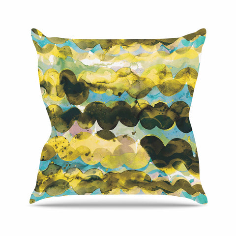 "Ninola Design ""Gold Turquoise Abstract Waves"" Gold Teal Abstract Modern Watercolor Illustration Outdoor Throw Pillow"