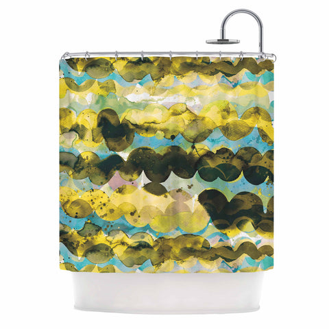 "Ninola Design ""Gold Turquoise Abstract Waves"" Gold Teal Abstract Modern Watercolor Illustration Shower Curtain"