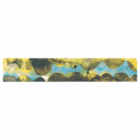 "Ninola Design ""Gold Turquoise Abstract Waves"" Gold Teal Abstract Modern Watercolor Illustration Table Runner"