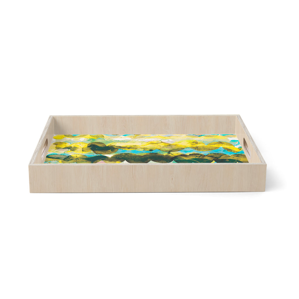 "Ninola Design ""Gold Turquoise Abstract Waves"" Gold Teal Abstract Modern Watercolor Illustration Birchwood Tray"