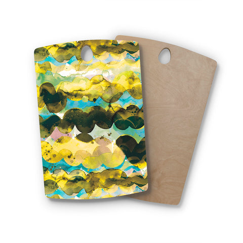 "Ninola Design ""Gold Turquoise Abstract Waves"" Gold Teal Abstract Modern Watercolor Illustration Rectangle Wooden Cutting Board"
